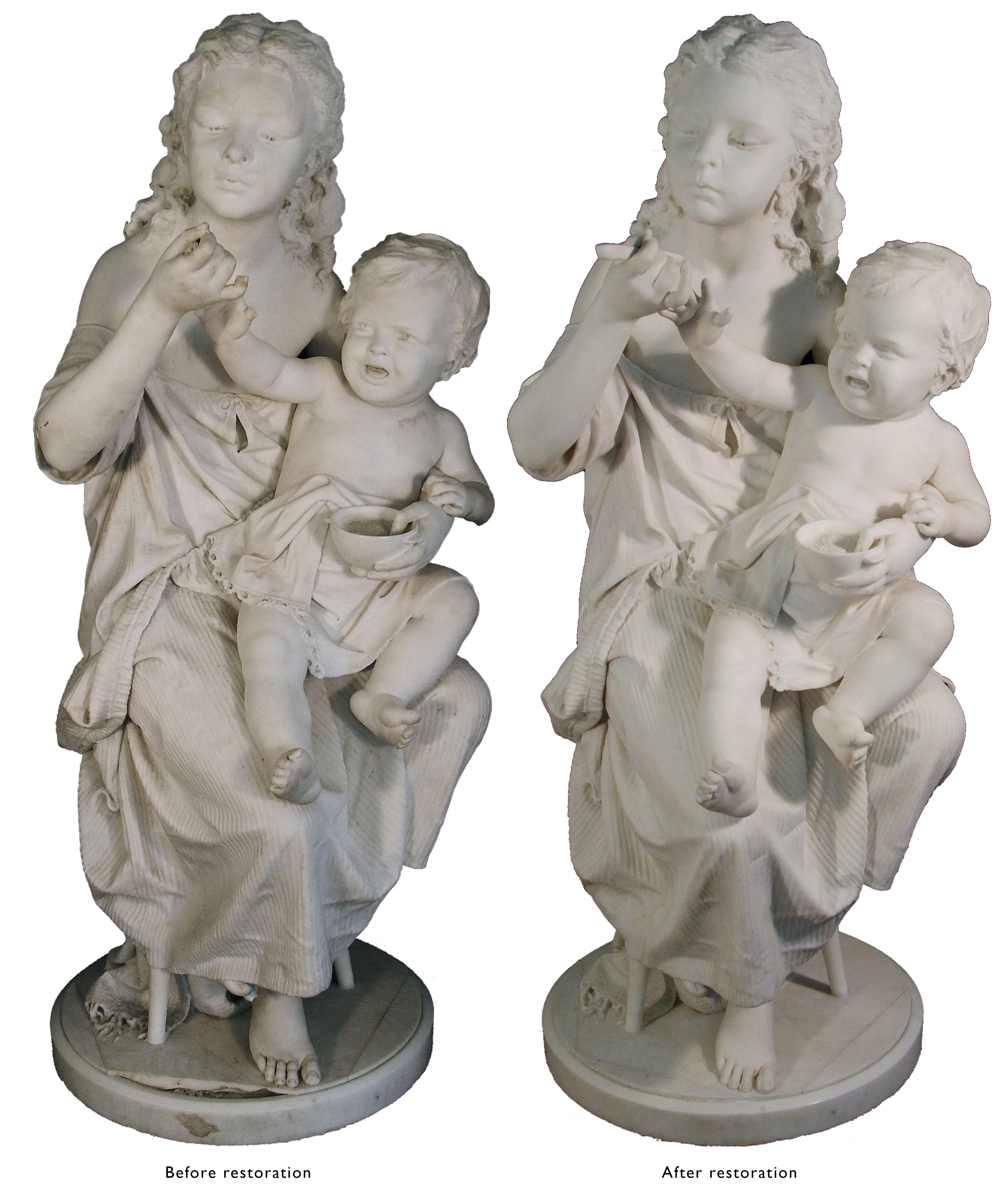 Statue of The Orphans, before and after restoration