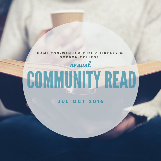 Hamilton-Wenham Public Library and Gordon College Annual Community Read transparent logo with a lap and an open book